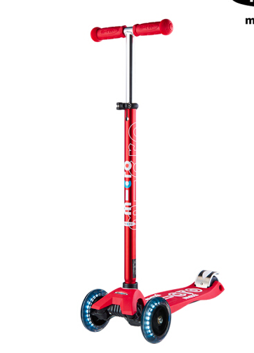 【LED车轮】瑞士m-cro迈古儿童滑板车maxi大童三轮滑板车 可调节高度轻便易携带闪光轮 红色
